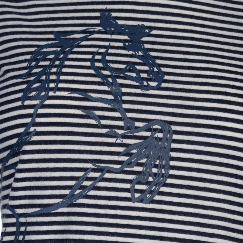 Requisite Ladies Horse Tee Navy Stripe