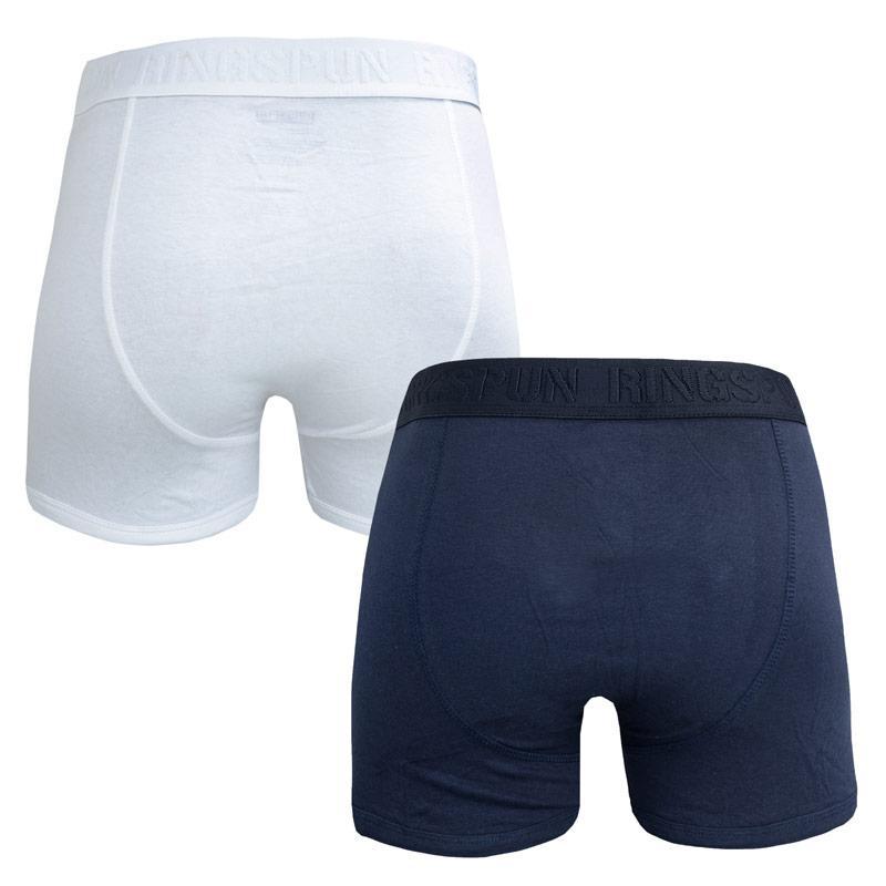 Spodní prádlo Ringspun Mens 2 Pack Boxer Shorts Navy-White