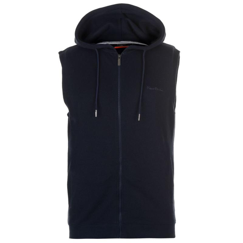 Mikina Pierre Cardin Pique Sleeveless Hoody Mens Navy