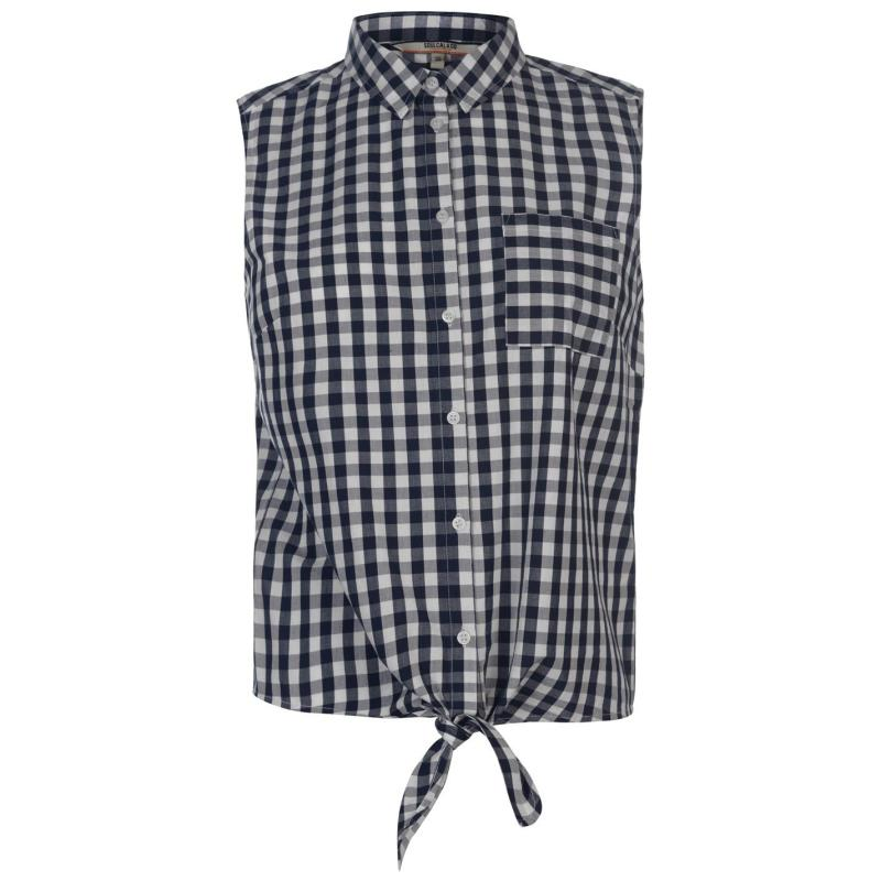Košile SoulCal Tie Blouse Ladies Navy Check