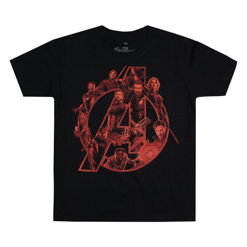 Tričko Marvel Junior Boys Avengers Red Character T-Shirt Black