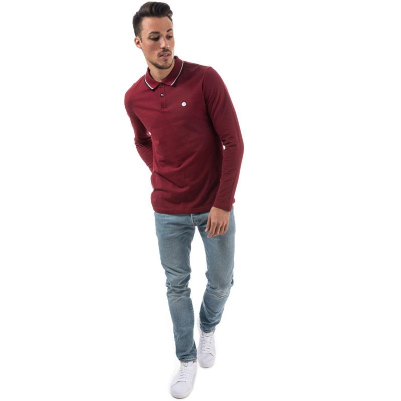 Pretty Green Mens Long Sleeve Tipped Pique Polo Shirt Red
