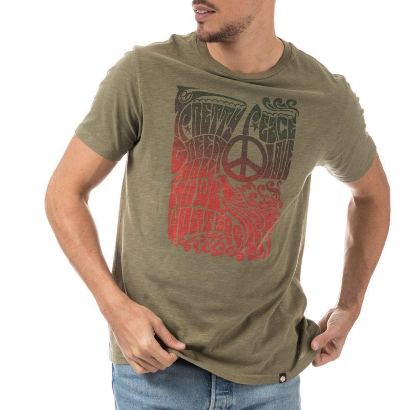 Tričko Pretty Green Mens Peace Print T-Shirt Green