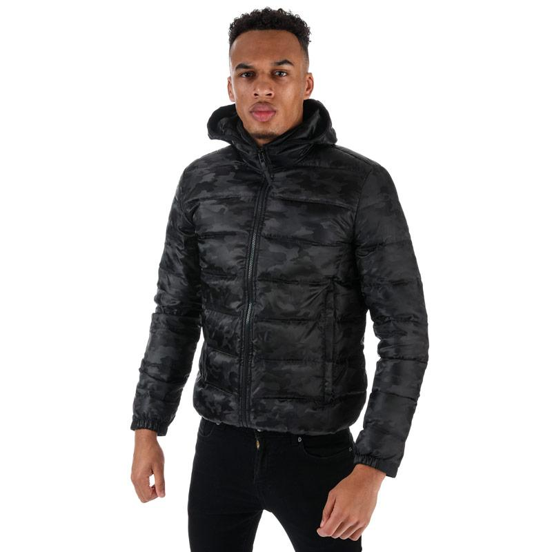 Pretty Green Mens Camo Quilted Jacket Black