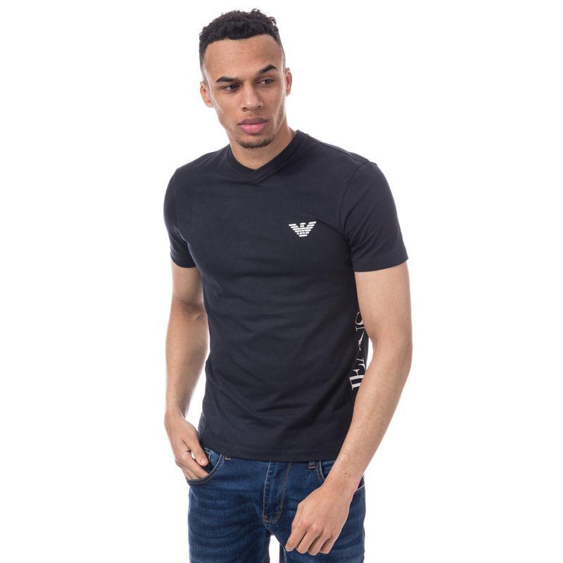 Tričko Armani Mens Eagle Crest Logo T-Shirt Navy