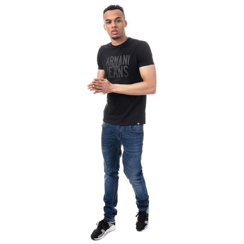 Tričko Armani Mens Logo Print T-Shirt Black