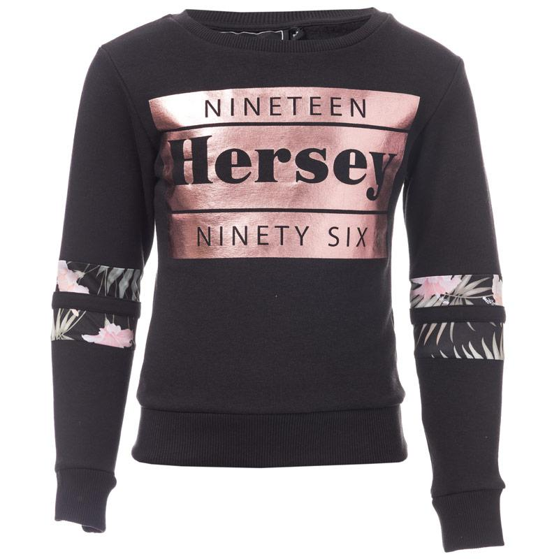 Beck And Hersey Junior Girls Clover Crew Sweat Black