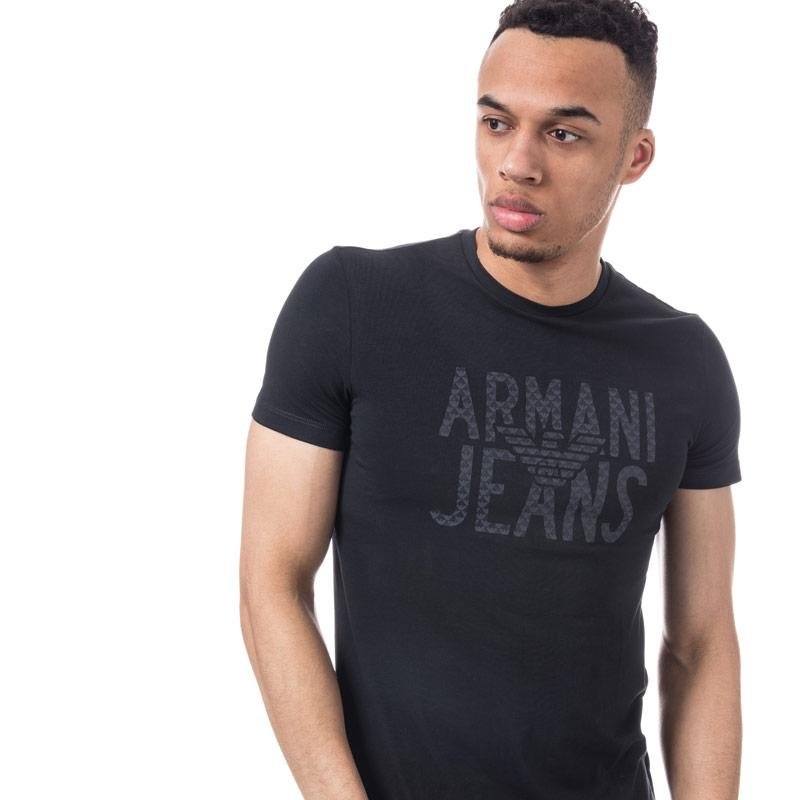 Tričko Armani Mens Logo Print T-Shirt Navy
