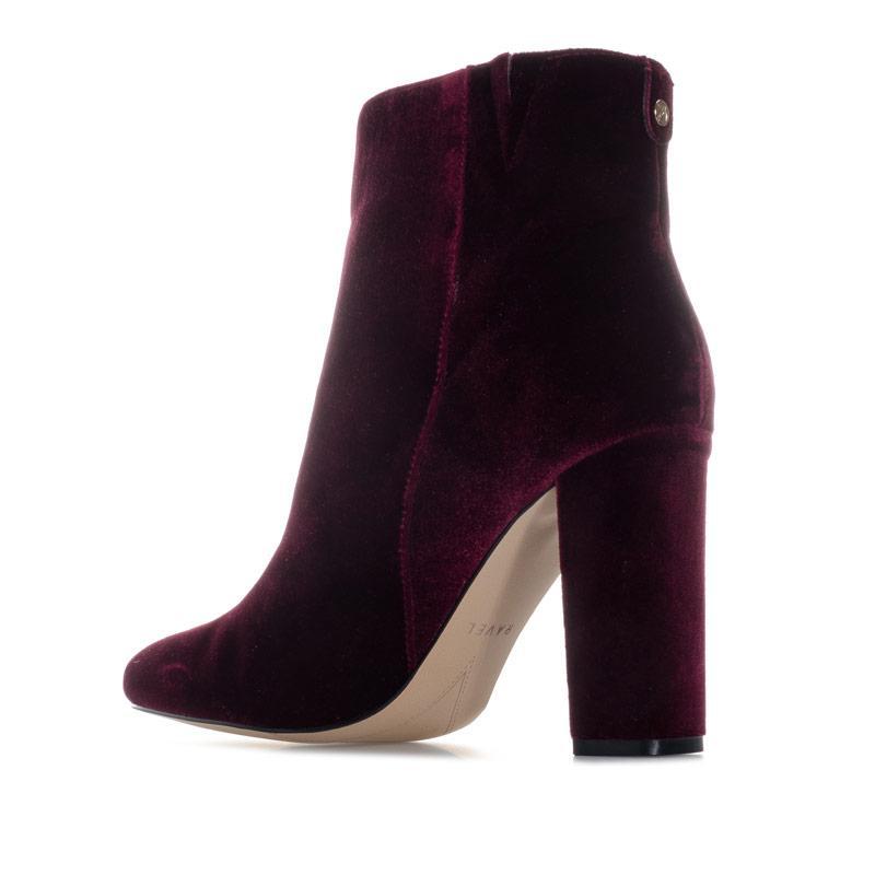 Ravel Womens Fenice Velvet Heeled Ankle Boots Burgundy
