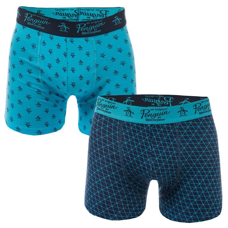 Spodní prádlo Original Penguin Mens Print 2 Pack Boxer Shorts Navy