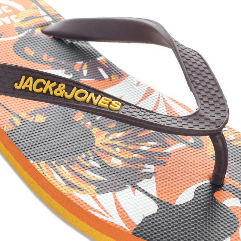 Jack Jones Mens Print Flip Flops Orange