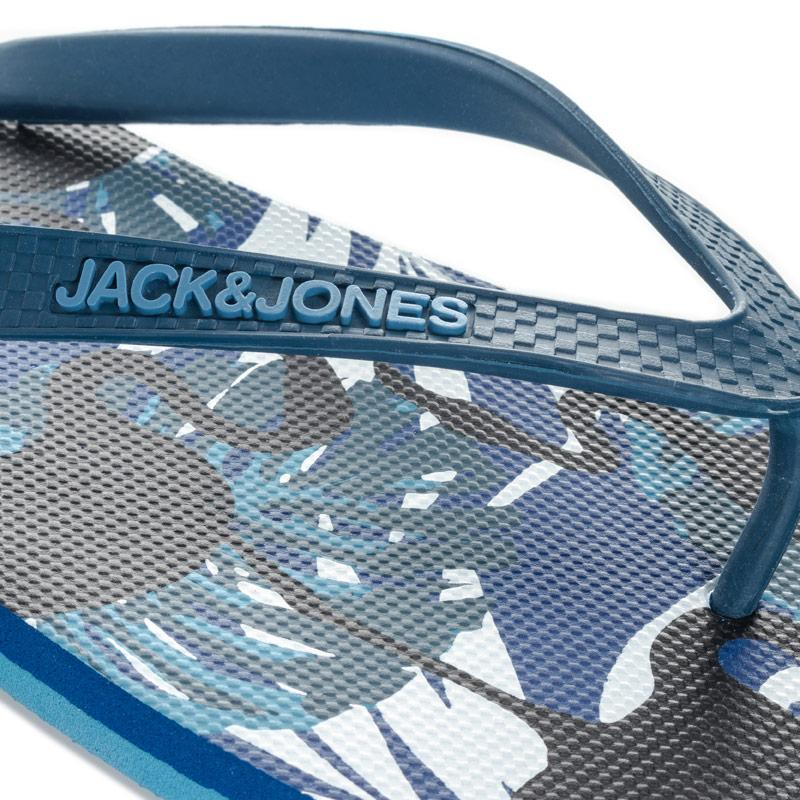 Jack Jones Mens Print Flip Flops Blue