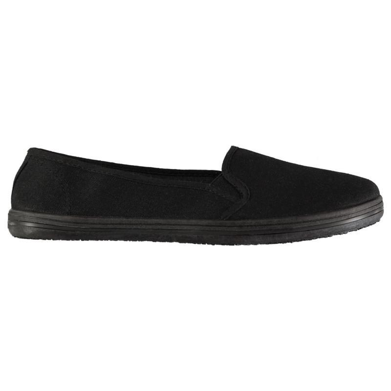 Obuv Slazenger Ladies Canvas Slip On Shoes Black