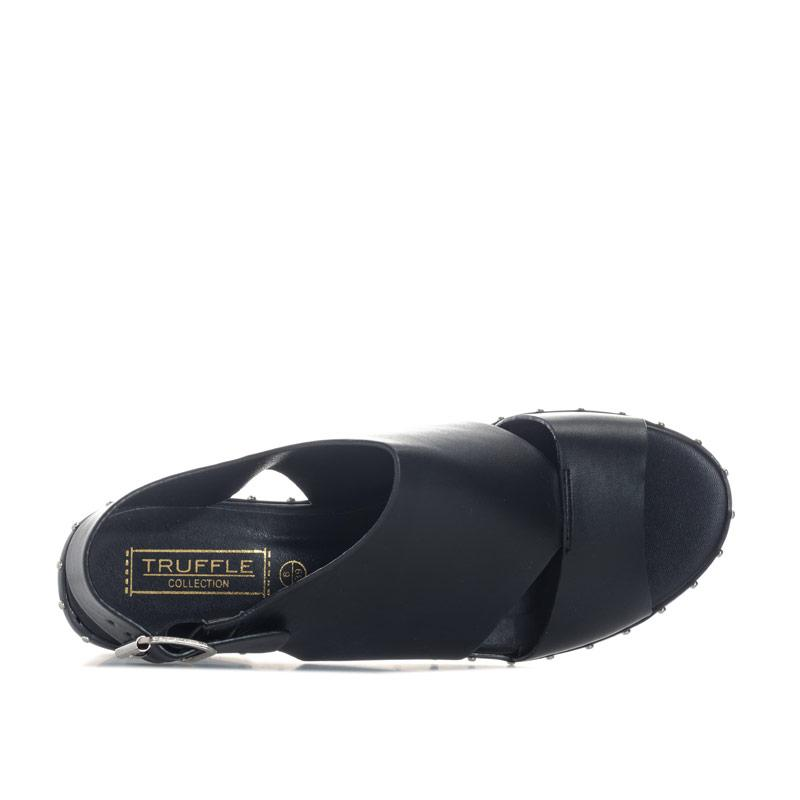 Truffle Collection Womens Open Toe Buckle Shoes Black
