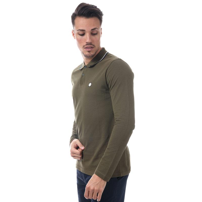 Pretty Green Mens Long Sleeve Tipped Pique Polo Shirt Green
