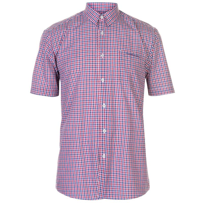 Pierre Cardin Short Sleeve Shirt Mens Pink/Blue Check