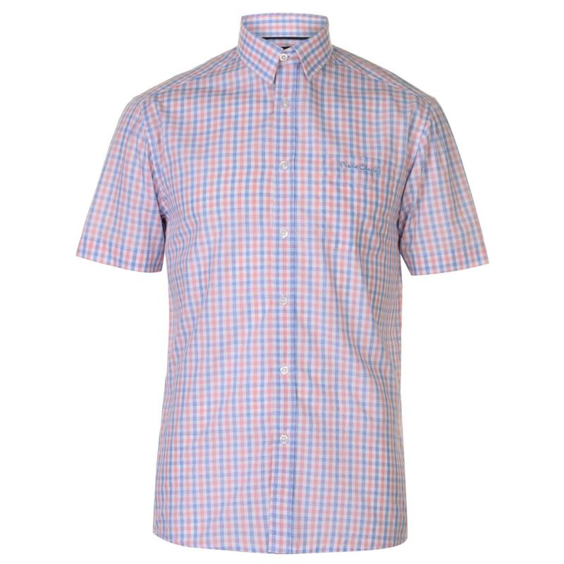 Pierre Cardin Short Sleeve Shirt Mens Navy/Wht Spot