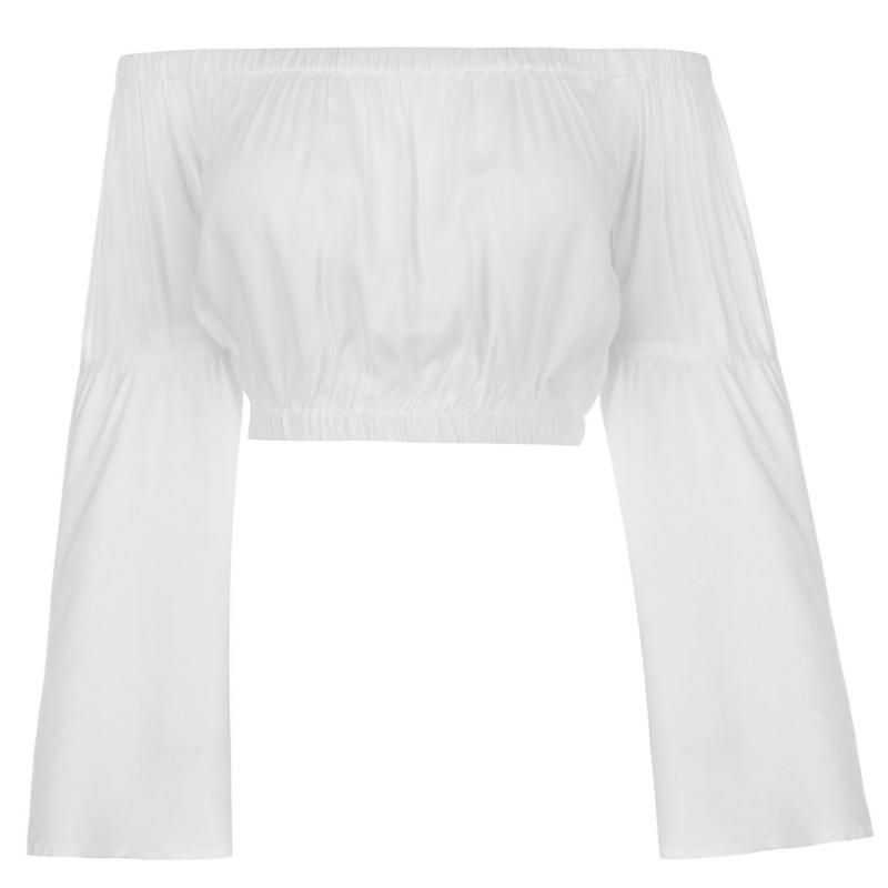 Košile Glamorous Bell Sleeve Crop Top White