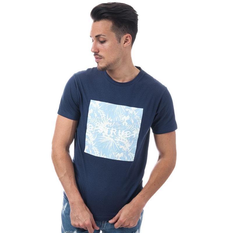 Tričko D-Struct Mens Tropically Logo T-Shirt Navy