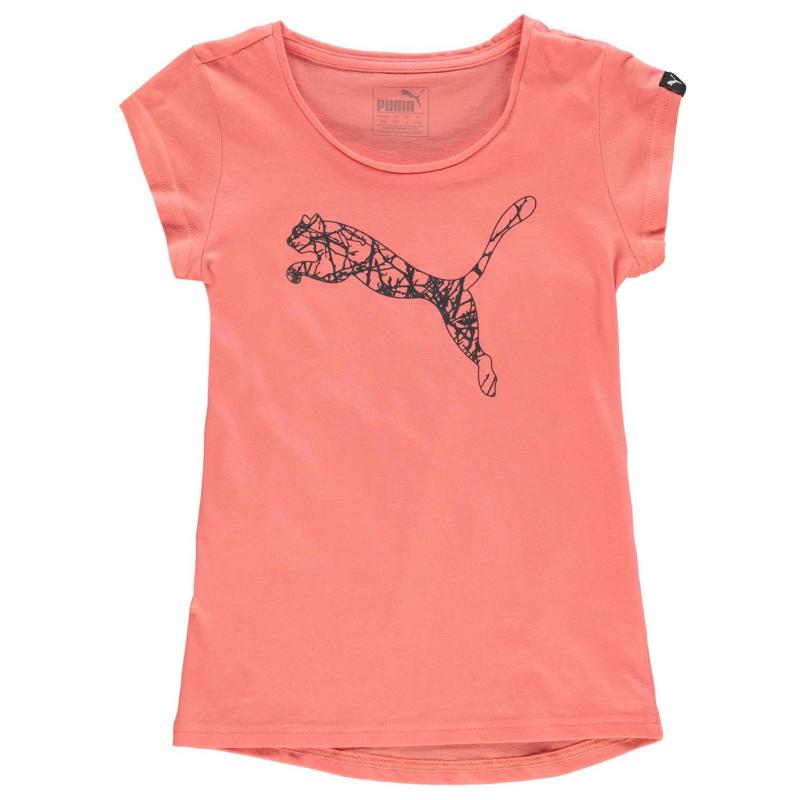 Puma Cat Logo T Shirt Girls Dk Green/White