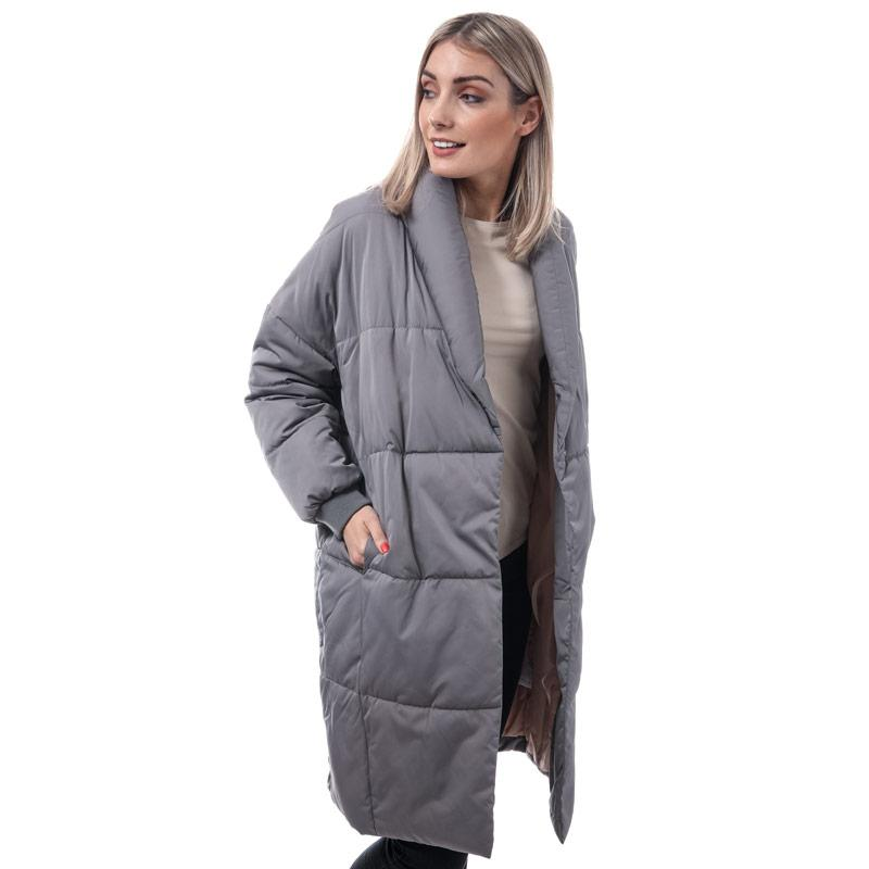 Native Youth Womens Altair Longline Puffer Jacket Grey