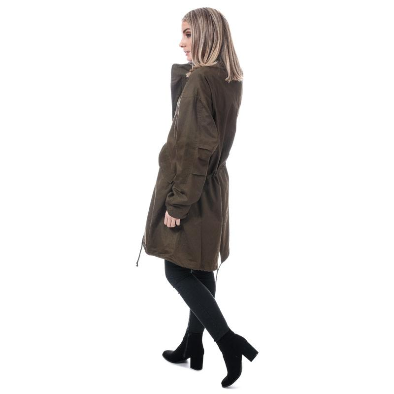 Native Youth Womens Apex Collarless Parka Jacket olive