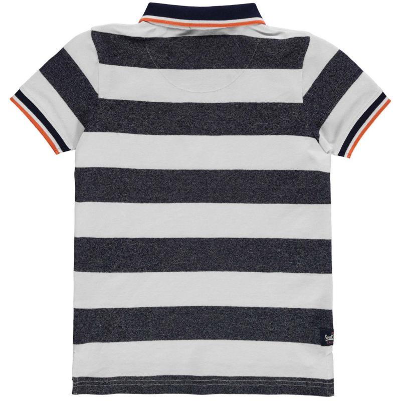 Tričko SoulCal Stripe Polo Shirt Junior Boys Navy/White