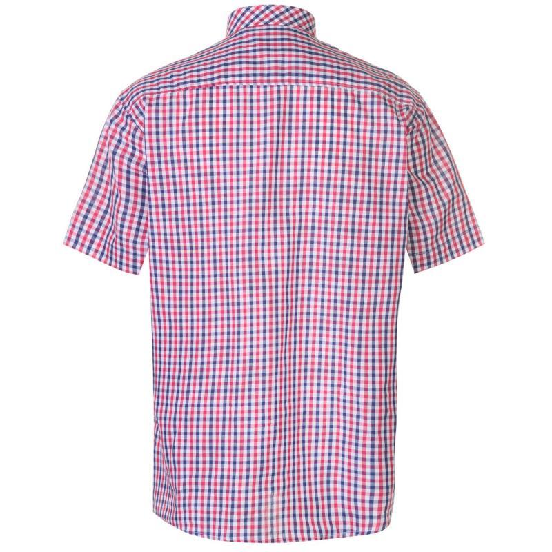 Pierre Cardin Short Sleeve Shirt Mens Red/Navy Check