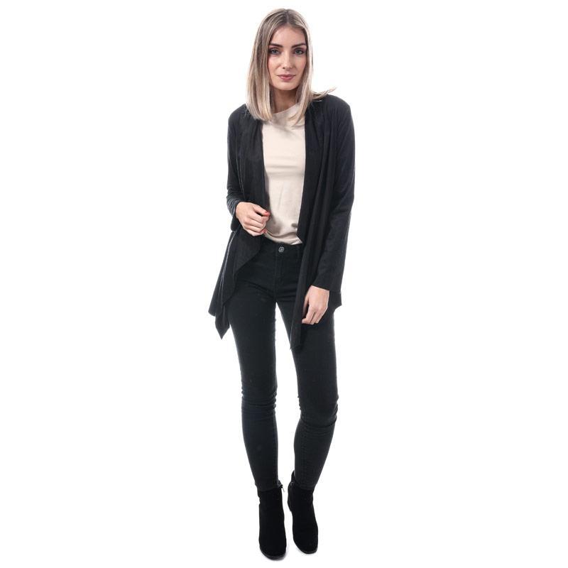 Mela London Womens Long Suedette Waterfall Jacket Black