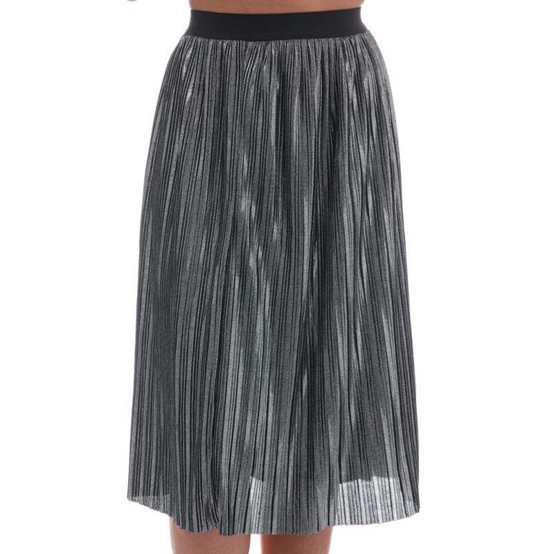 Sukně Mela London Womens Metallic Crinkled Midi Skirt Grey