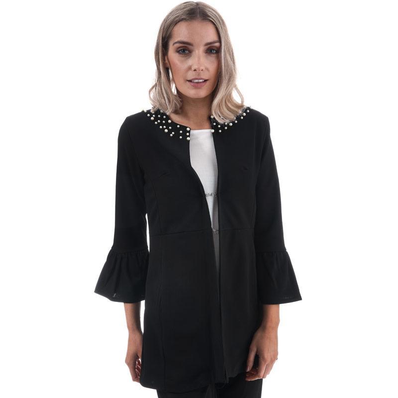 Mela London Womens Pearl Detail Flute Sleeve Jacket Black