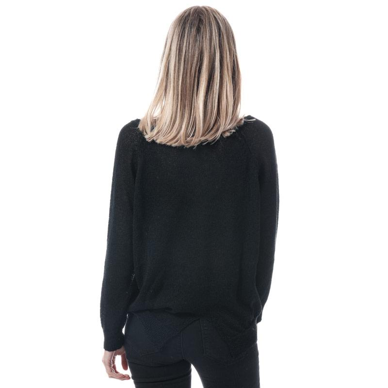 Svetr Mela London Womens Rose Embroidered Jumper Black