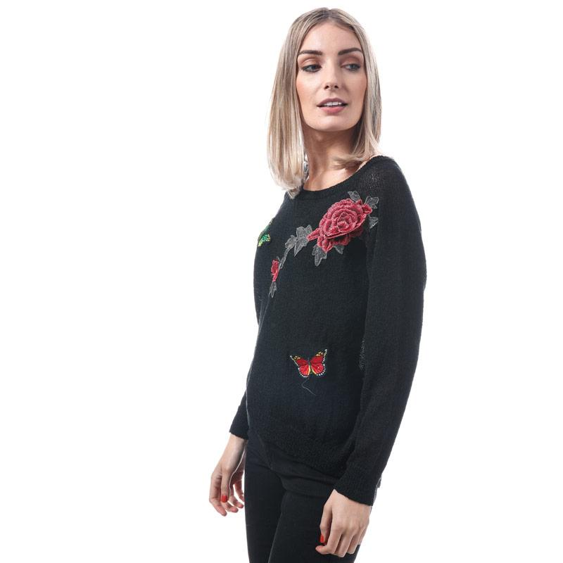 Svetr Mela London Womens Rose Embroidered Jumper Black