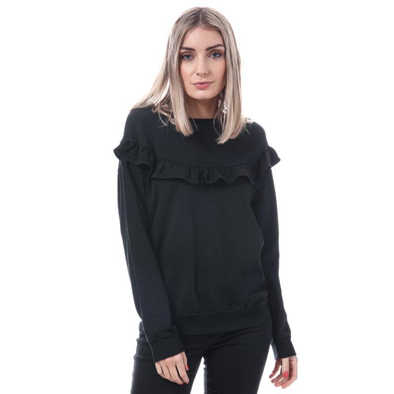 Mikina Mela London Womens Ruffle Front Sweatshirt Black