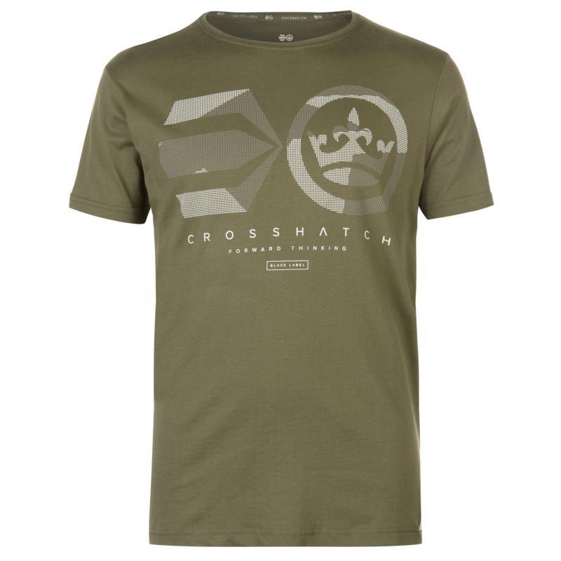 Tričko Crosshatch Dotcam T Shirt Mens Vaporous Grey
