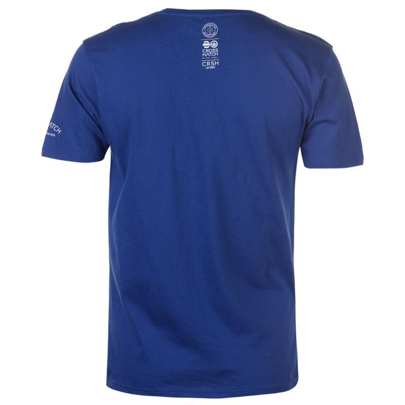 Tričko Crosshatch Lamming V Neck T Shirt Mens Black