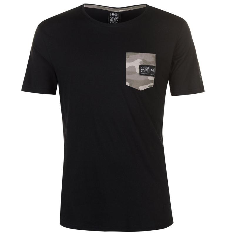 Tričko Crosshatch Seedley Pocket T Shirt Mens Black