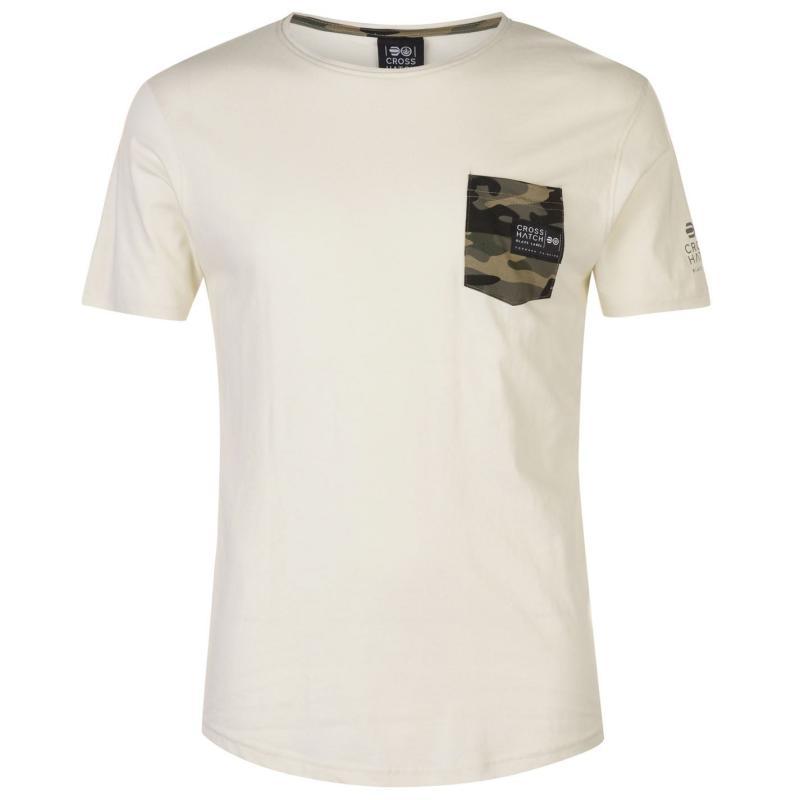Tričko Crosshatch Seedley Pocket T Shirt Mens Vaporous Grey