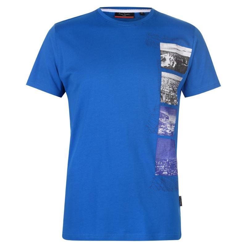 Tričko Pierre Cardin Photo Line Printed TShirt Mens Blue