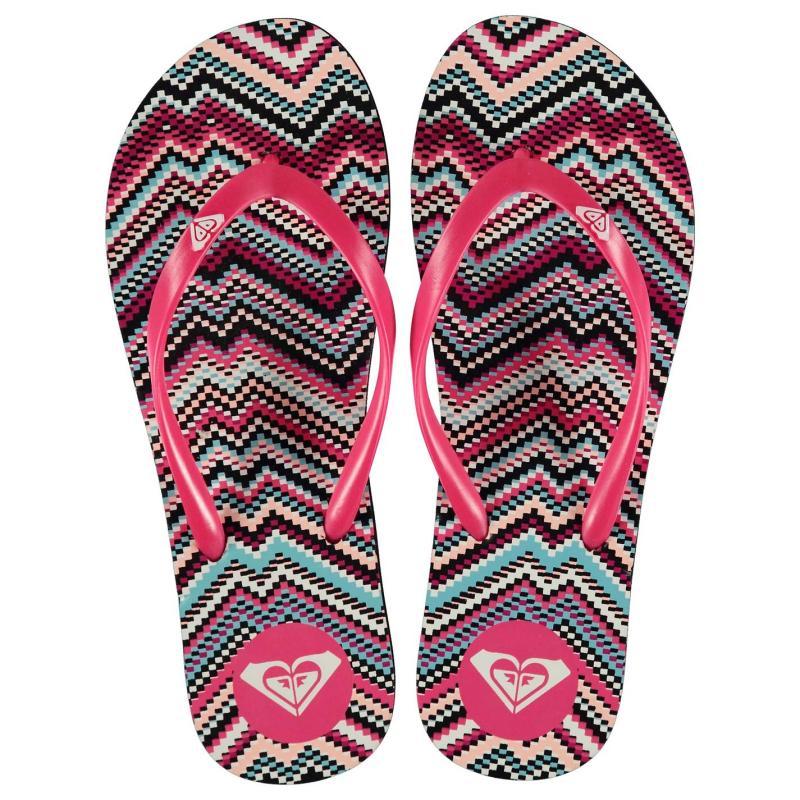 Boty Roxy Print Ladies Flip Flops Pink