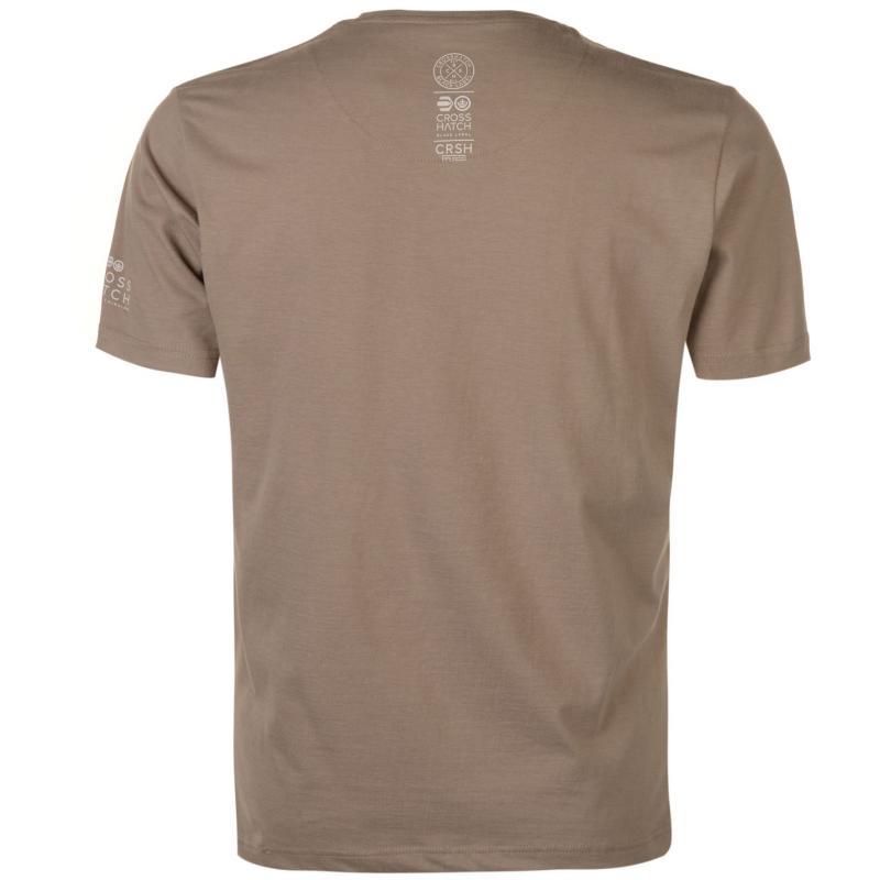 Tričko Crosshatch Dotcam T Shirt Mens Dusty Olive