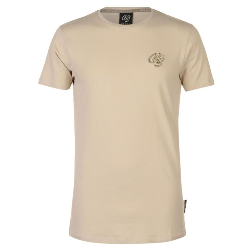 Tričko Crosshatch Hulton T Shirt Mens Oatmeal