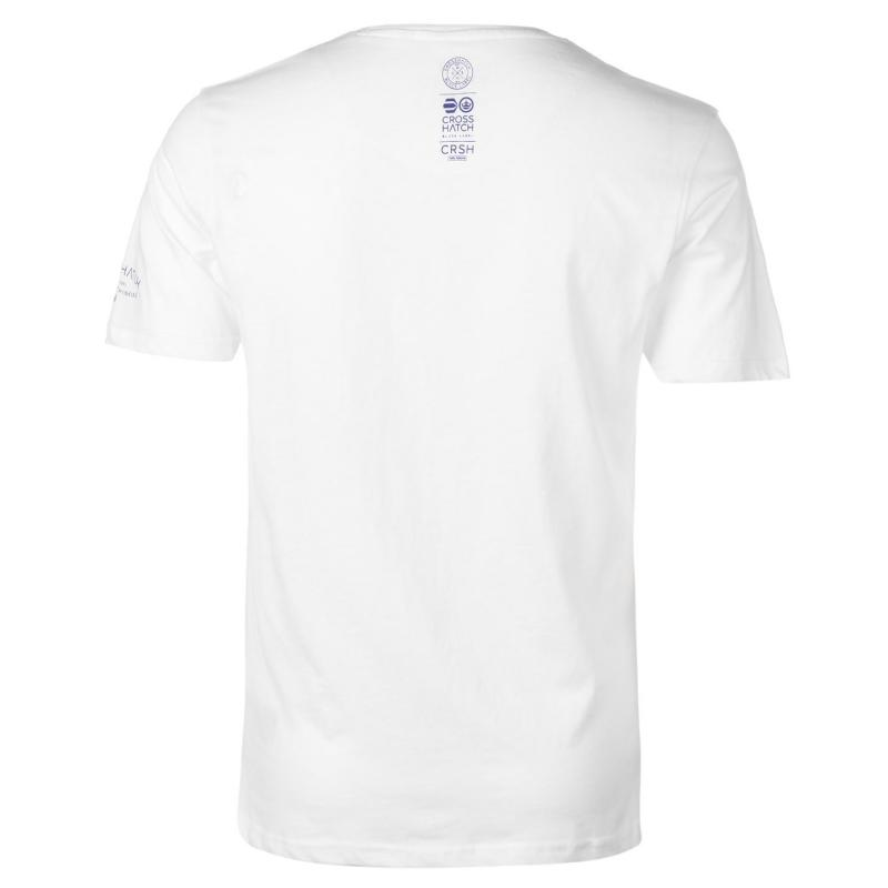Tričko Crosshatch Lamming V Neck T Shirt Mens White