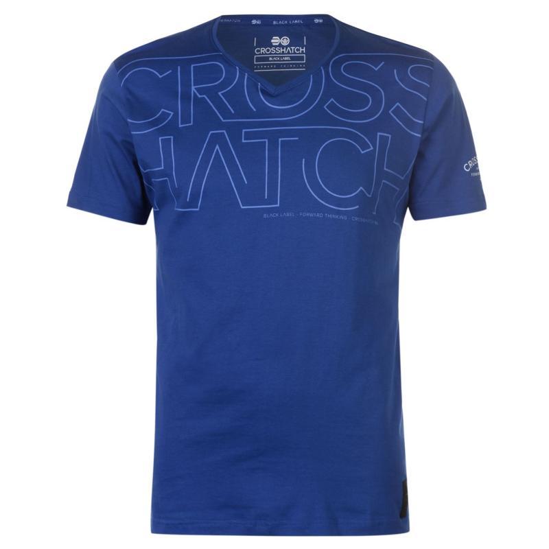 Tričko Crosshatch Mandle V Neck T Shirt Mens Sodalite Blue