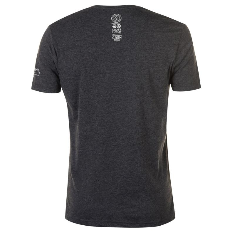 Tričko Crosshatch Mandle V Neck T Shirt Mens Charcoal Marl