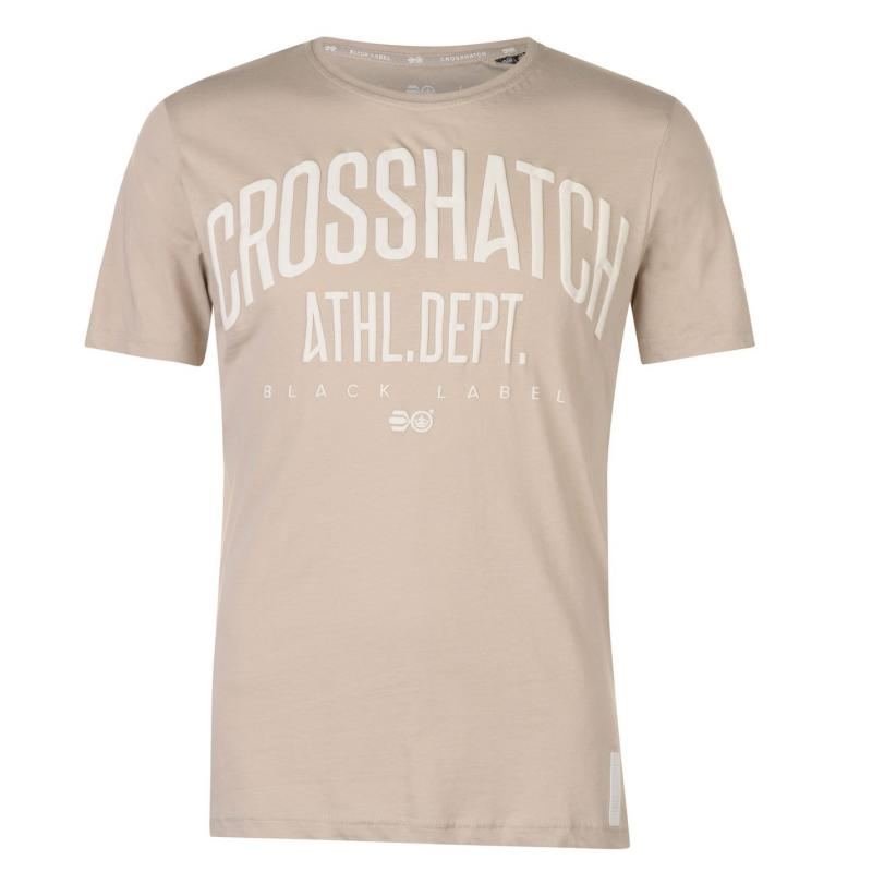 Tričko Crosshatch Shamen T Shirt Mens Oxford Tan