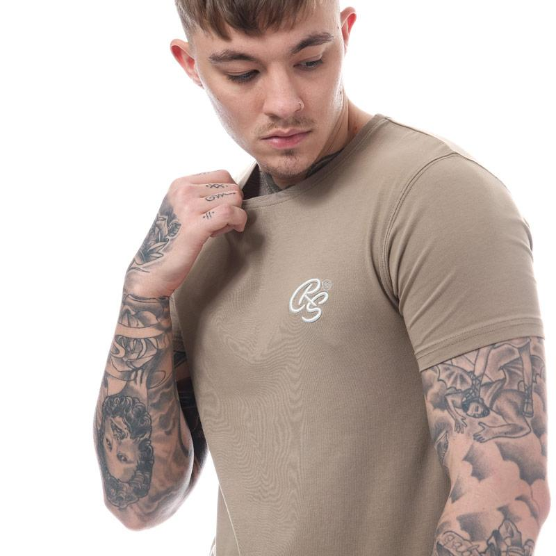 Tričko Crosshatch Black Label Mens Hulton Longline T-Shirt Khaki