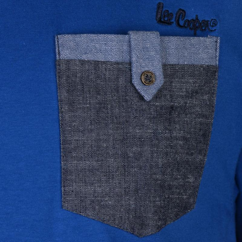 Tričko Lee Cooper Chambray Pocket T Shirt Mens Royal