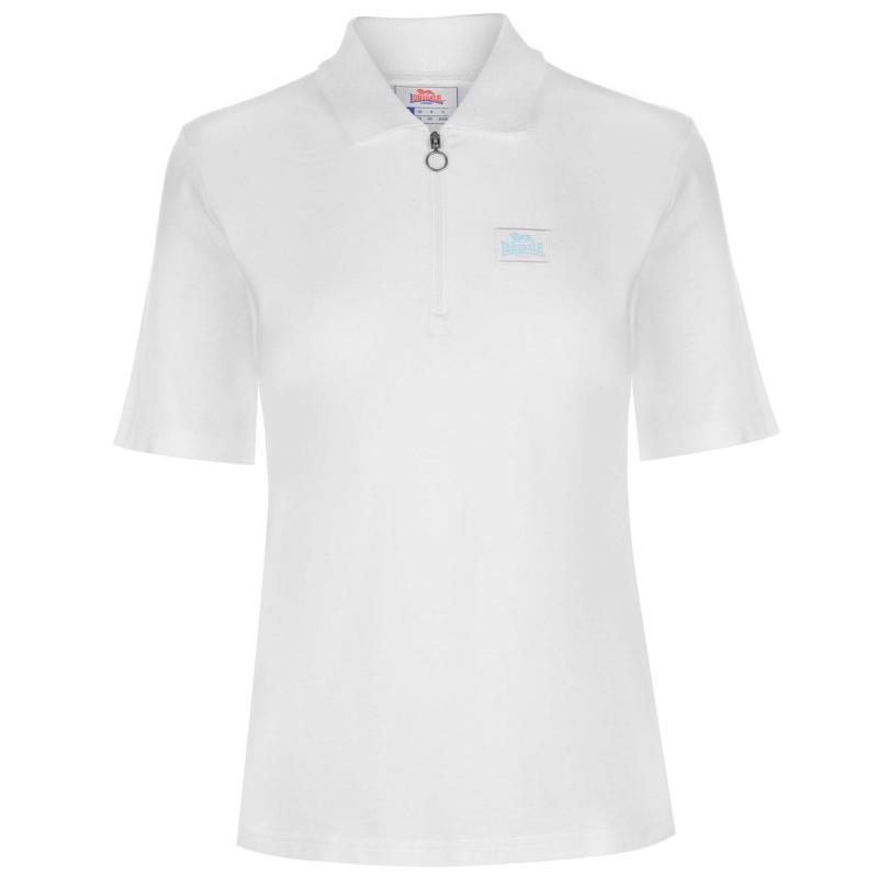 Polokošile Lonsdale Zip Polo Top Ladies Blush/White