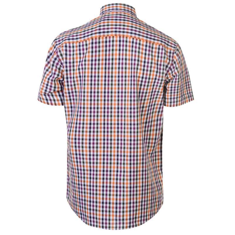 Pierre Cardin Coloured Gingham Short Sleeve Shirt Mens Plum/Blue/Orang